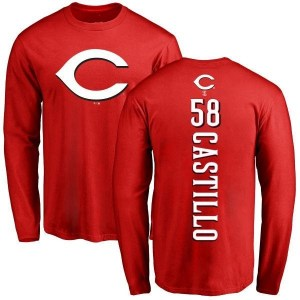 Luis Castillo Cincinnati Reds Men's Red Backer Long Sleeve T-Shirt -