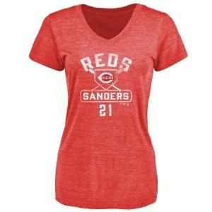Reggie Sanders Cincinnati Reds Women's Red Branded Base Runner Tri-Blend T-Shirt -