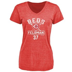Scott Feldman Cincinnati Reds Women's Red Branded Base Runner Tri-Blend T-Shirt -