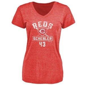 Scott Schebler Cincinnati Reds Women's Red Branded Base Runner Tri-Blend T-Shirt -