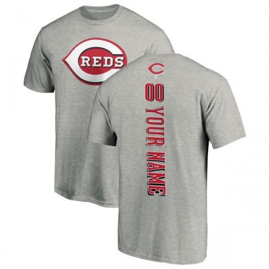 Custom Cincinnati Reds Men's Backer T-Shirt - Ash