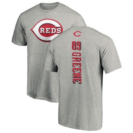 Hunter Greene Cincinnati Reds Men's Green Backer T-Shirt - Ash