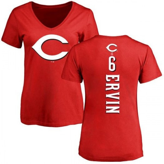 Phillip Ervin Cincinnati Reds Women's Red Backer Slim Fit T-Shirt -