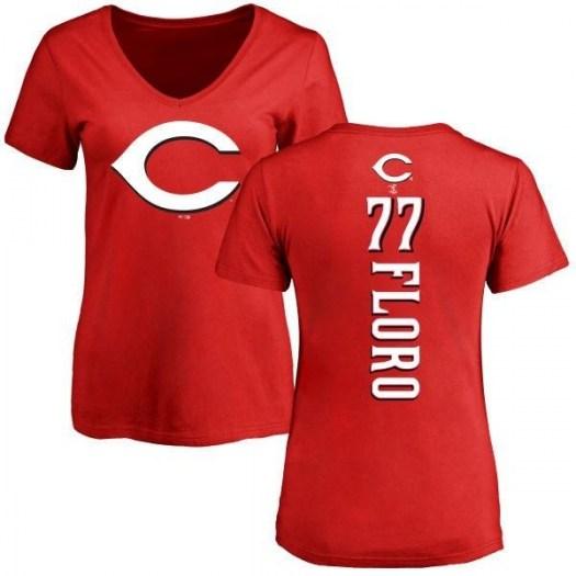Dylan Floro Cincinnati Reds Women's Red Backer Slim Fit T-Shirt -