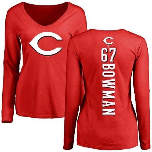 Matt Bowman Cincinnati Reds Women's Red Backer Slim Fit Long Sleeve T-Shirt -