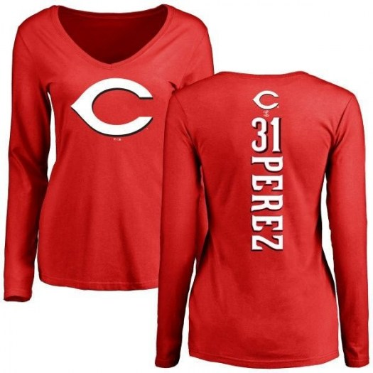 Oliver Perez Cincinnati Reds Women's Red Backer Slim Fit Long Sleeve T-Shirt -