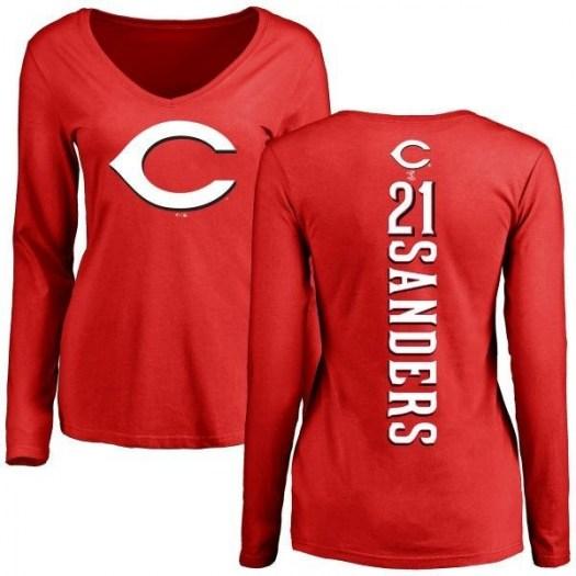 Deion Sanders Cincinnati Reds Women's Red Backer Slim Fit Long Sleeve T-Shirt -