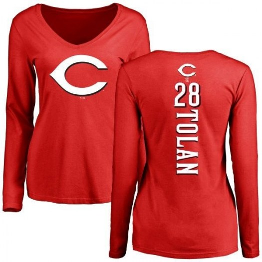 Bobby Tolan Cincinnati Reds Women's Red Backer Slim Fit Long Sleeve T-Shirt -