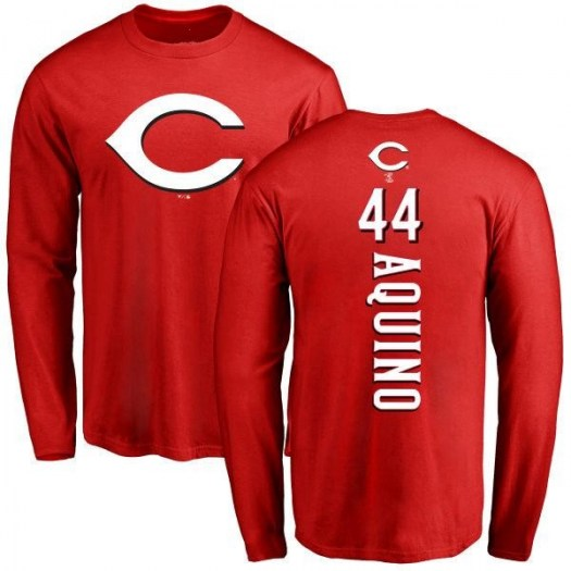 Aristides Aquino Cincinnati Reds Men's Red Backer Long Sleeve T-Shirt -