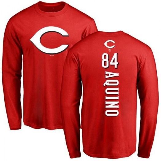 Aristides Aquino Cincinnati Reds Men's Red Backer Long Sleeve T-Shirt -