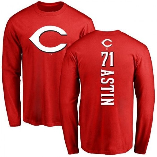 Barrett Astin Cincinnati Reds Men's Red Backer Long Sleeve T-Shirt -