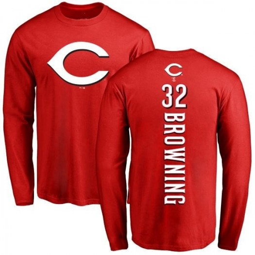 Tom Browning Cincinnati Reds Men's Red Backer Long Sleeve T-Shirt -