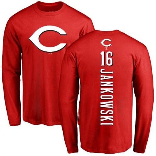 Travis Jankowski Cincinnati Reds Men's Red Backer Long Sleeve T-Shirt -