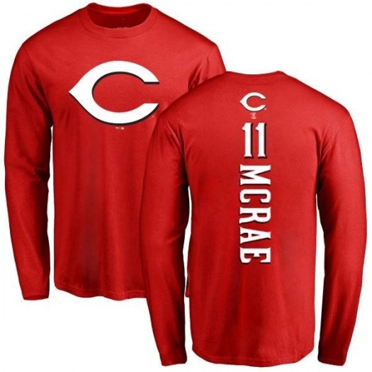 Hal Mcrae Cincinnati Reds Men's Red Backer Long Sleeve T-Shirt -
