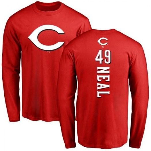 Zach Neal Cincinnati Reds Men's Red Backer Long Sleeve T-Shirt -