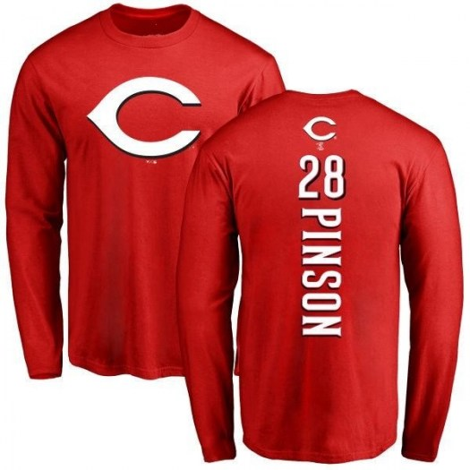 Vada Pinson Cincinnati Reds Men's Red Backer Long Sleeve T-Shirt -
