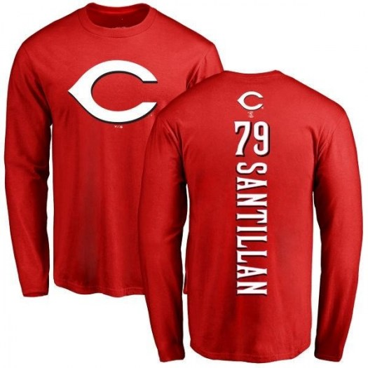 Tony Santillan Cincinnati Reds Men's Red Backer Long Sleeve T-Shirt -