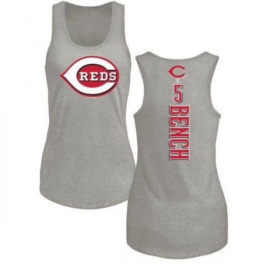 Johnny Bench Cincinnati Reds Women's Backer Tri-Blend Tank Top - Ash