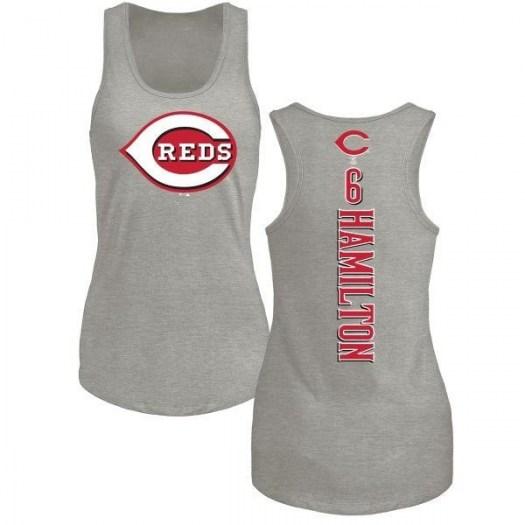 Billy Hamilton Cincinnati Reds Women's Backer Tri-Blend Tank Top - Ash