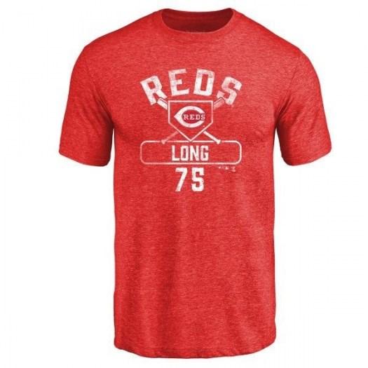 Shed Long Cincinnati Reds Men's Red Base Runner Tri-Blend T-Shirt -