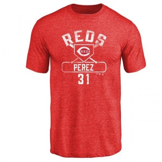 Oliver Perez Cincinnati Reds Men's Red Base Runner Tri-Blend T-Shirt -