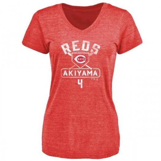 Shogo Akiyama Cincinnati Reds Women's Red Base Runner Tri-Blend T-Shirt -