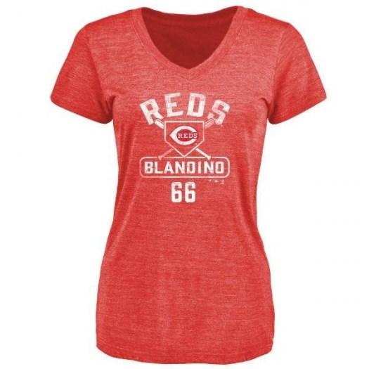 Alex Blandino Cincinnati Reds Women's Red Base Runner Tri-Blend T-Shirt -