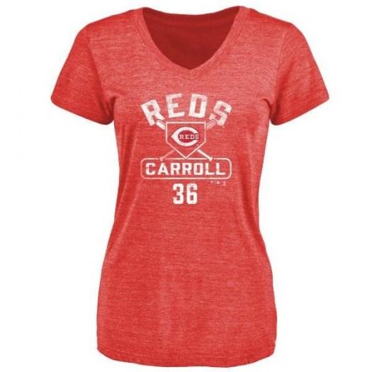Clay Carroll Cincinnati Reds Women's Red Branded Base Runner Tri-Blend T-Shirt -