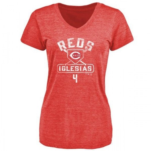 Jose Iglesias Cincinnati Reds Women's Red Base Runner Tri-Blend T-Shirt -