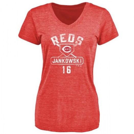 Travis Jankowski Cincinnati Reds Women's Red Base Runner Tri-Blend T-Shirt -