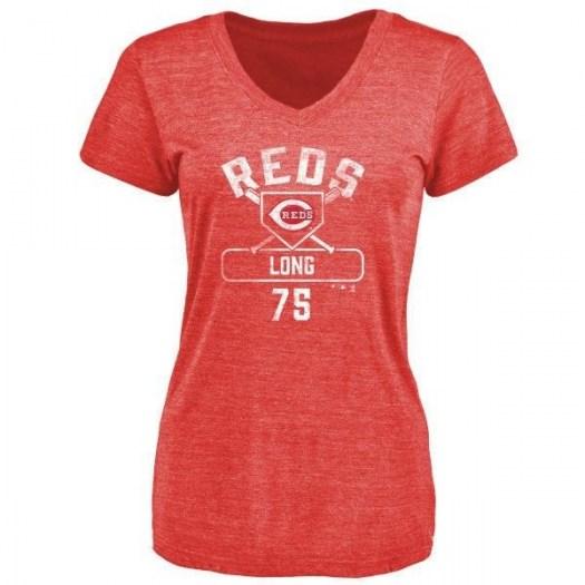 Shed Long Cincinnati Reds Women's Red Base Runner Tri-Blend T-Shirt -