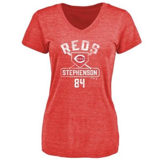 Tyler Stephenson Cincinnati Reds Women's Red Base Runner Tri-Blend T-Shirt -
