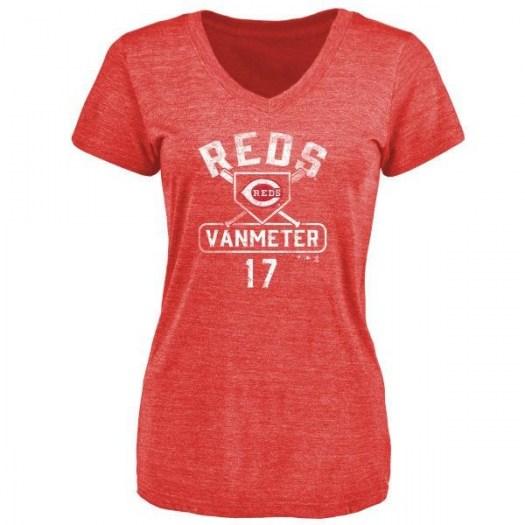 Josh VanMeter Cincinnati Reds Women's Red Base Runner Tri-Blend T-Shirt -