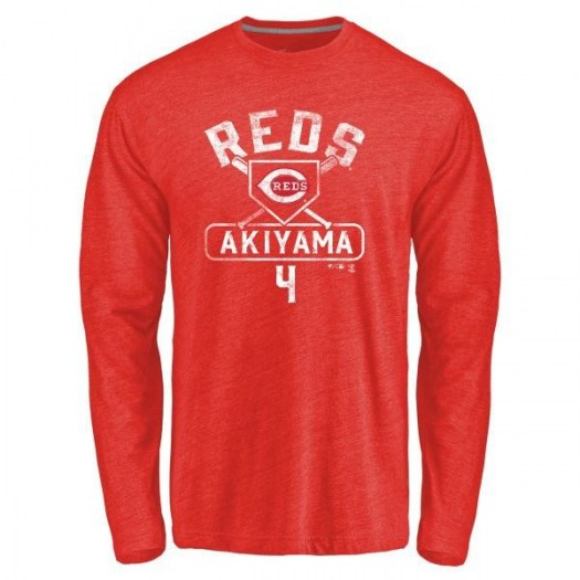 Shogo Akiyama Cincinnati Reds Youth Red Base Runner Tri-Blend Long Sleeve T-Shirt -