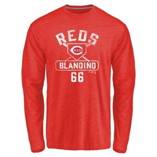 Alex Blandino Cincinnati Reds Men's Red Base Runner Tri-Blend Long Sleeve T-Shirt -