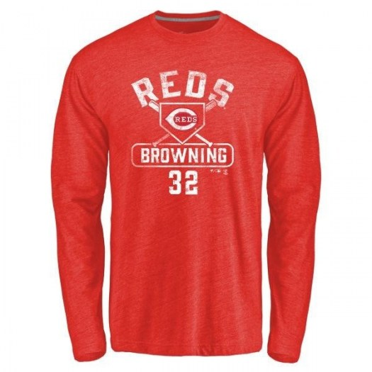 Tom Browning Cincinnati Reds Men's Red Branded Base Runner Tri-Blend Long Sleeve T-Shirt -