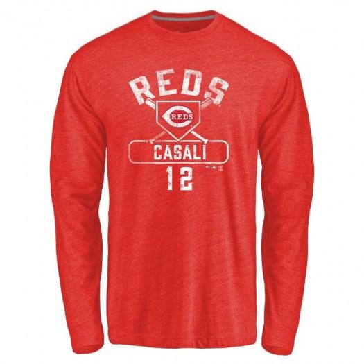 Curt Casali Cincinnati Reds Men's Red Base Runner Tri-Blend Long Sleeve T-Shirt -