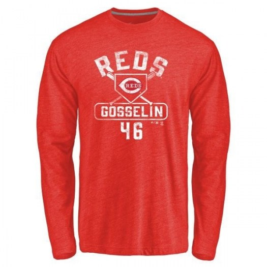 Phil Gosselin Cincinnati Reds Men's Red Base Runner Tri-Blend Long Sleeve T-Shirt -