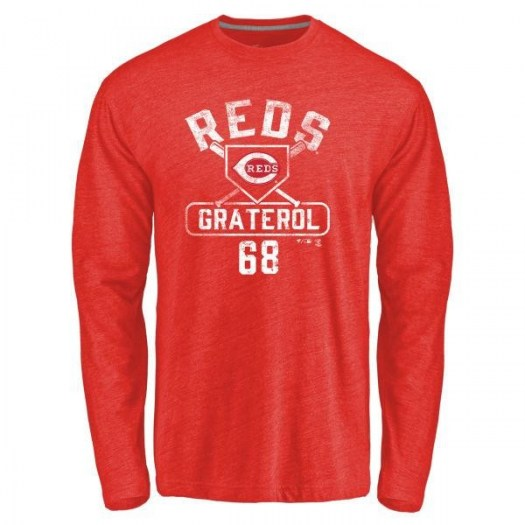 Juan Graterol Cincinnati Reds Youth Red Base Runner Tri-Blend Long Sleeve T-Shirt -