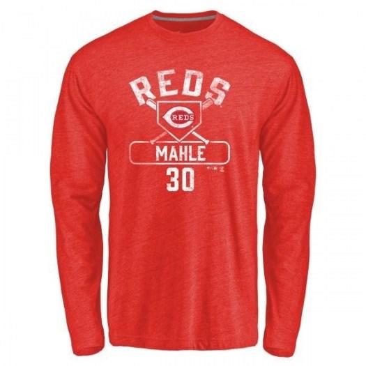 Tyler Mahle Cincinnati Reds Men's Red Base Runner Tri-Blend Long Sleeve T-Shirt -