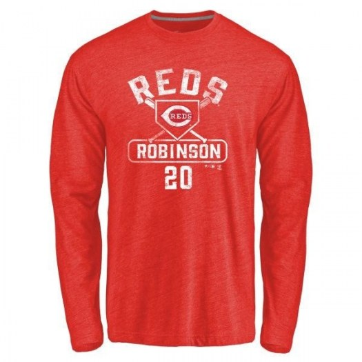 Frank Robinson Cincinnati Reds Men's Red Branded Base Runner Tri-Blend Long Sleeve T-Shirt -