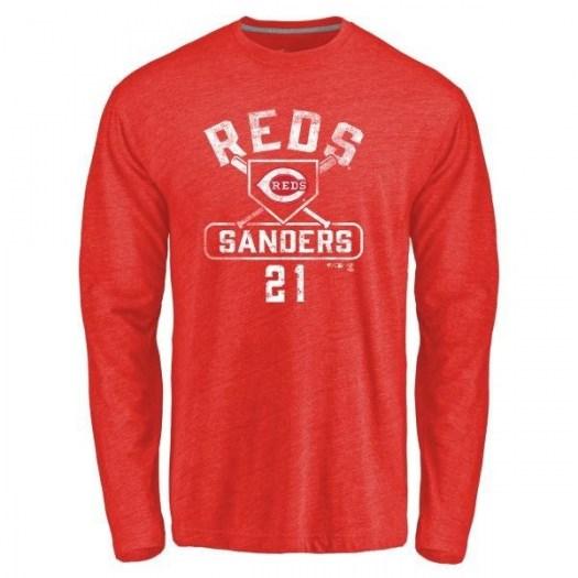 Deion Sanders Cincinnati Reds Men's Red Branded Base Runner Tri-Blend Long Sleeve T-Shirt -