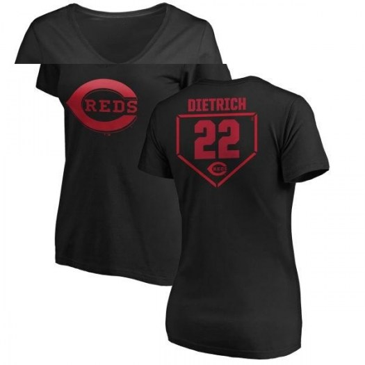 Derek Dietrich Cincinnati Reds Women's Black RBI Slim Fit V-Neck T-Shirt -