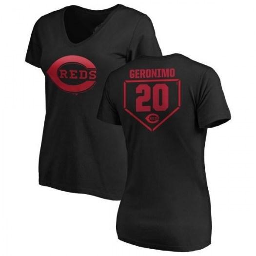 Cesar Geronimo Cincinnati Reds Women's Black RBI Slim Fit V-Neck T-Shirt -