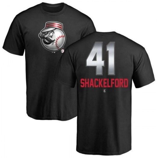 Kevin Shackelford Cincinnati Reds Men's Black Midnight Mascot T-Shirt -