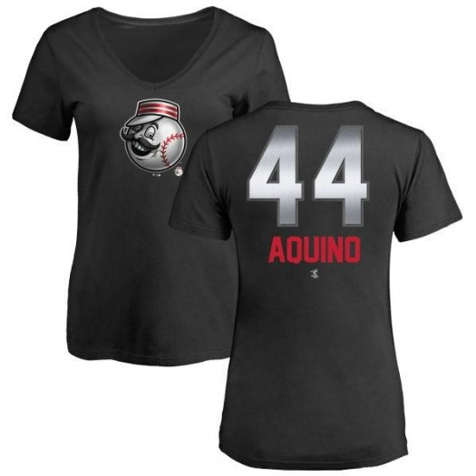 Aristides Aquino Cincinnati Reds Women's Black Midnight Mascot V-Neck T-Shirt -