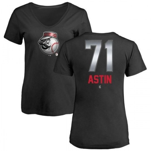Barrett Astin Cincinnati Reds Women's Black Midnight Mascot V-Neck T-Shirt -