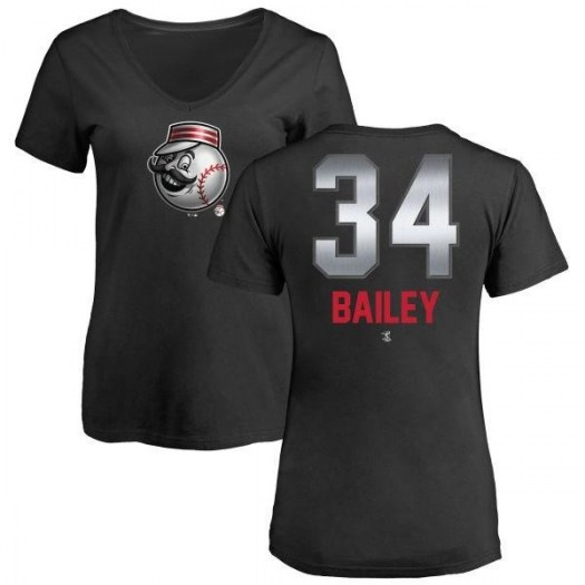 Homer Bailey Cincinnati Reds Women's Black Midnight Mascot V-Neck T-Shirt -