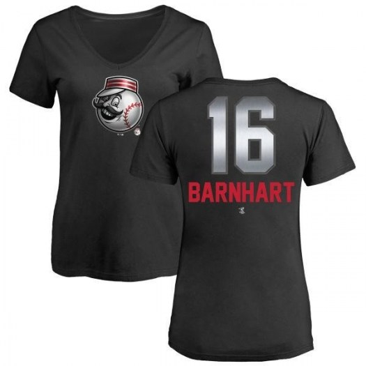 Tucker Barnhart Cincinnati Reds Women's Black Midnight Mascot V-Neck T-Shirt -