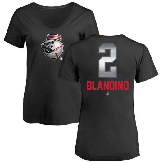 Alex Blandino Cincinnati Reds Women's Black Midnight Mascot V-Neck T-Shirt -